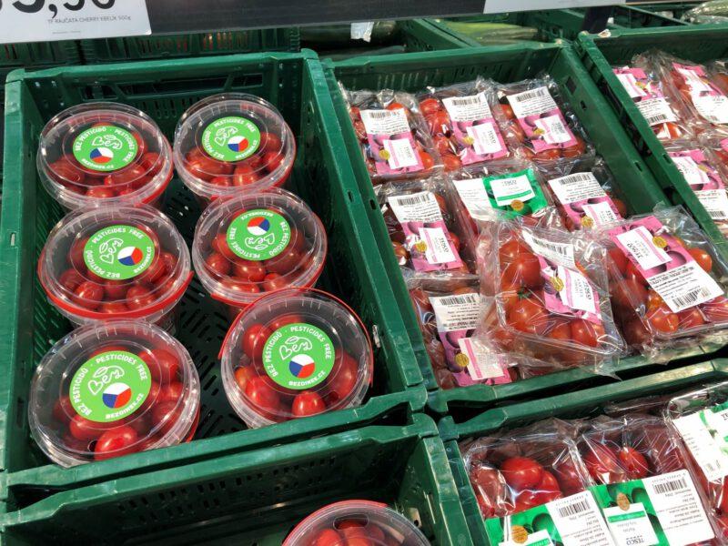 balení v obchodech TESCO - značení Bez pesticidů